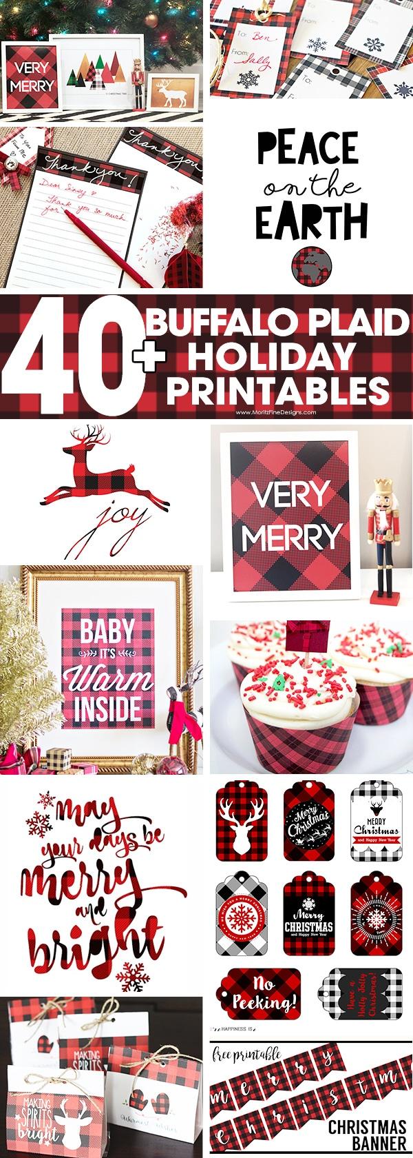 buffalo check plaid | holiday printables | holiday decor | holiday signs | free printable