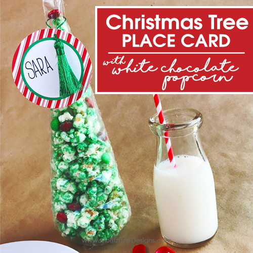 Christmas Tree Place Card with White Chocolate Popcorn