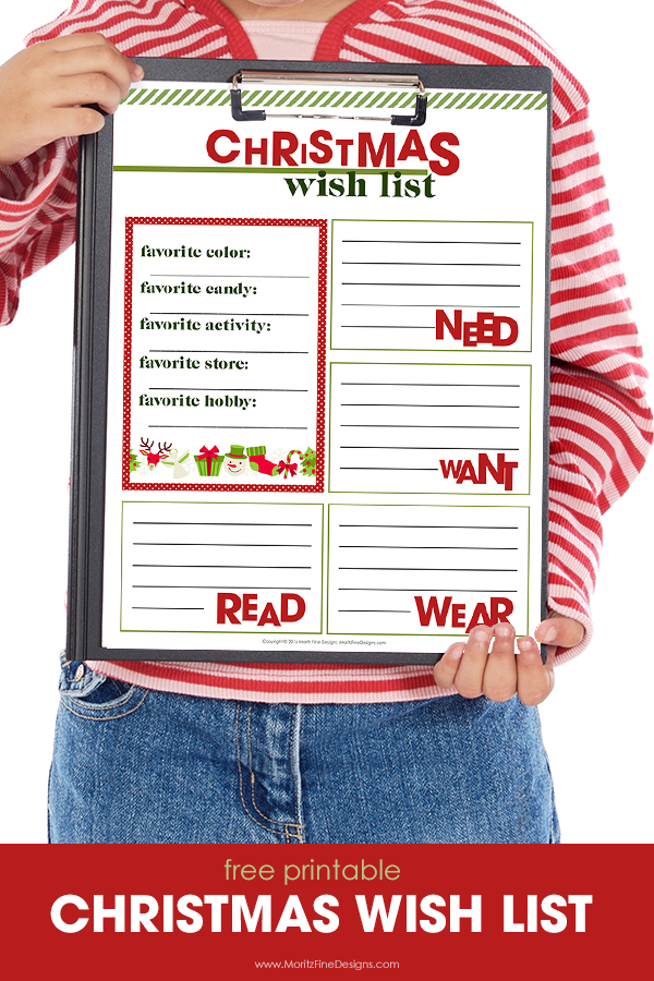 Christmas Wish List Printable Moritz Fine Designs – Christmas Wish List Printable