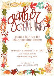 image regarding Free Printable Thanksgiving Invitations called Customizable Thanksgiving Invitation Free of charge Printable