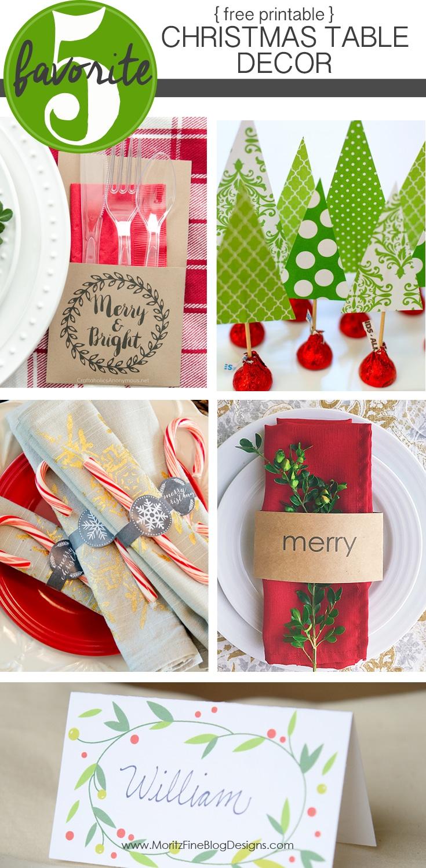 Free Printable Christmas Table Decor | Friday Favorite 5