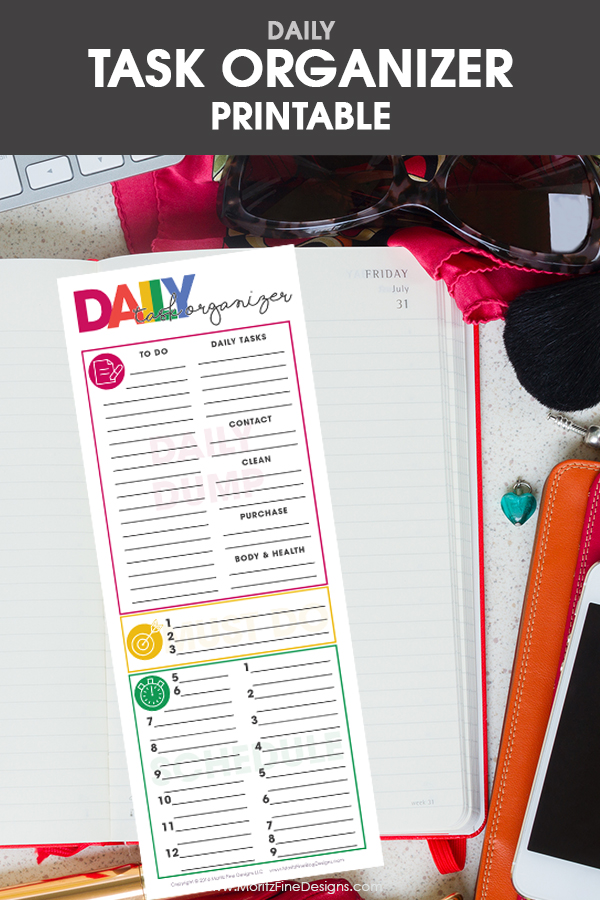 Use the free printable Daily Task Organizer to help you be more focused & get more done in less time. Just a few minutes planning daily will equal success.