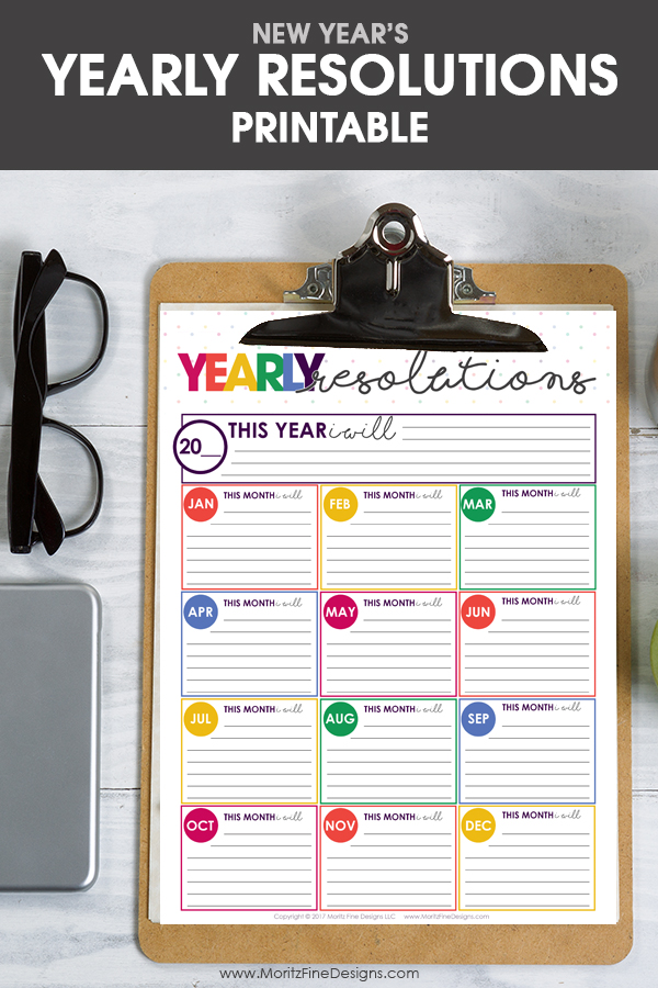 New Years Resolutions Goals Sheet Free Printable