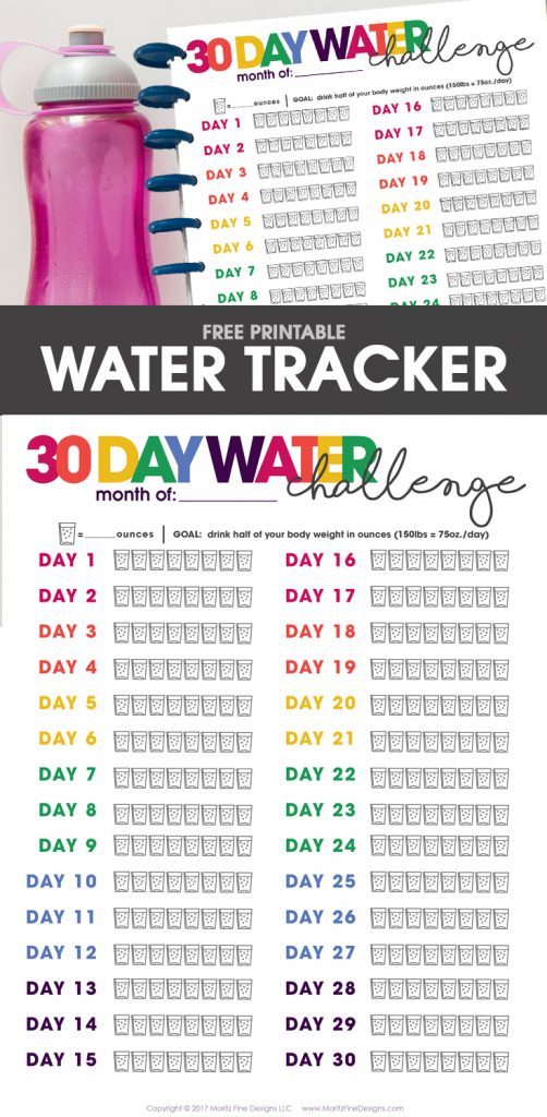 Daily Water Tracker | free printable | Water Challenge | drinking water daily routine