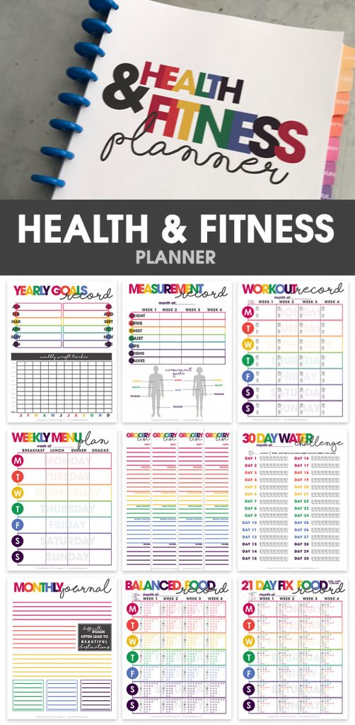 health & fitness planner   printable   organizational printables   weight loss tracker