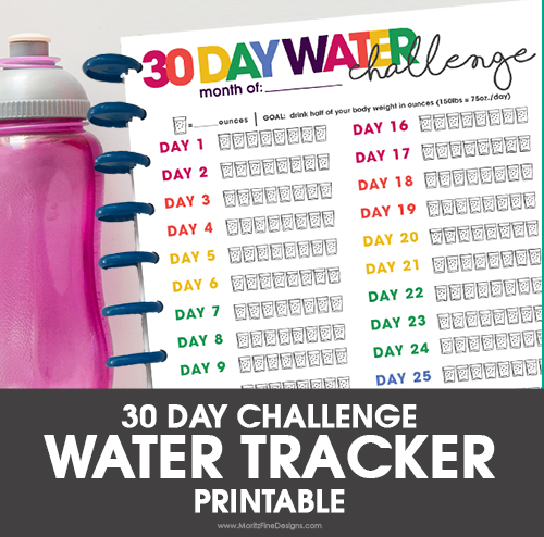 Free Printable Water Tracker | 30 Day Challenge