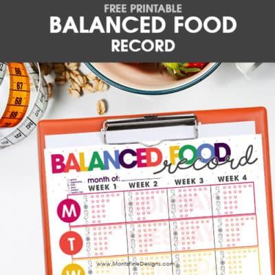 Balanced Food Record Free Printable