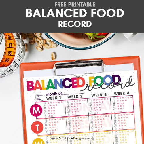 Balanced Food Record Free Printable