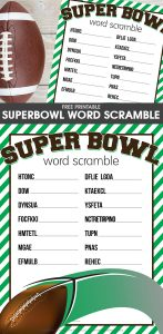 The free printable Super Bowl Word Scramble is a fun football activity for kids to do before or during the big game or party.
