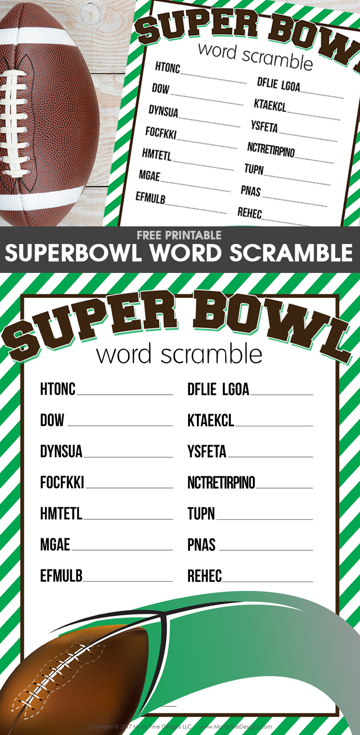 The free printable Super Bowl Word Scramble is a fun football activity for the kids to do before or during the big game or party.