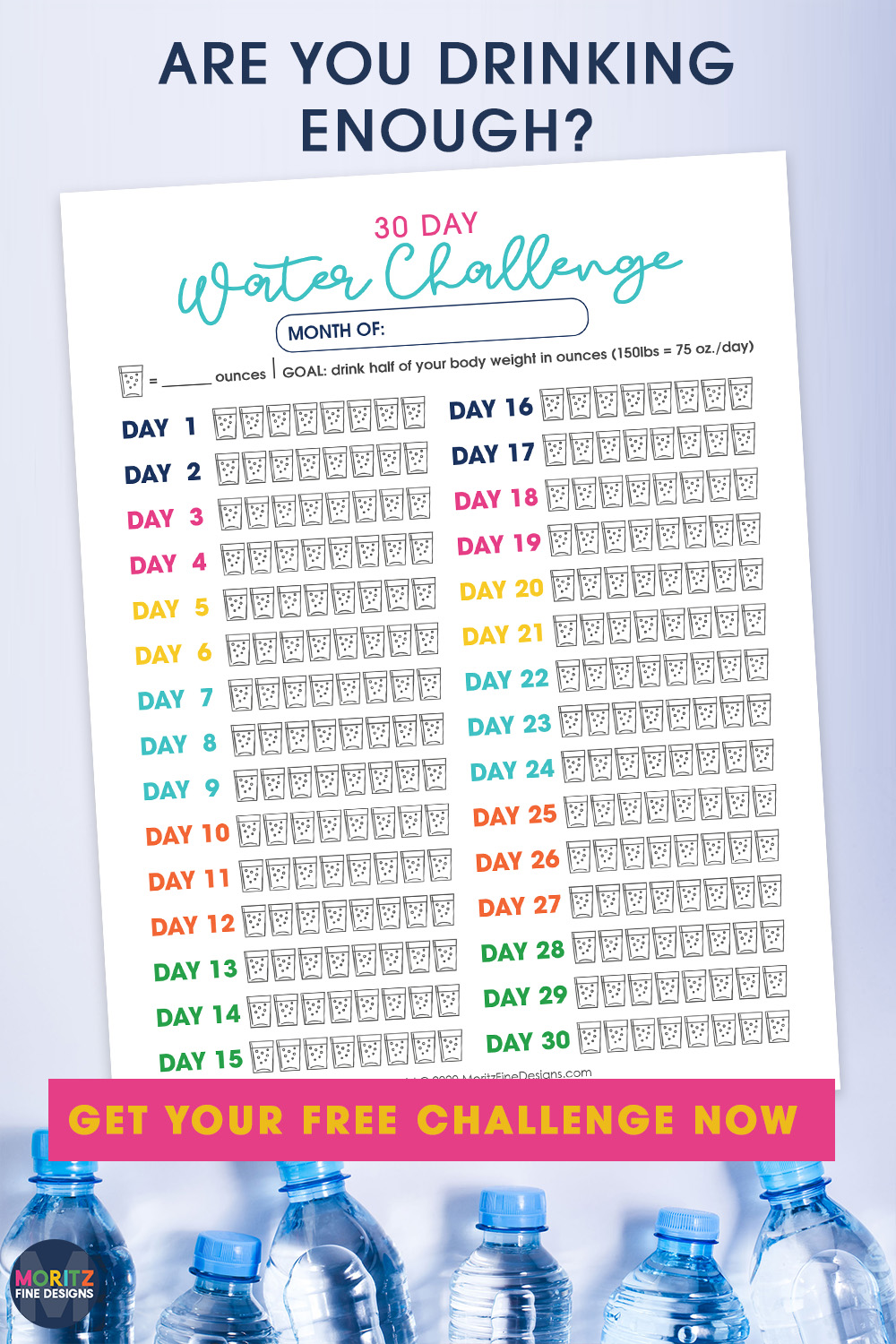 Make sure you are drinking enough water every day! Use the free printable Water Tracker and 30 Day Challenge to get started now!
