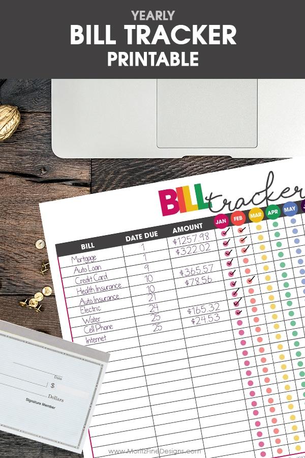 free printable bill tracker | financial organizer | money tracker | get life organized