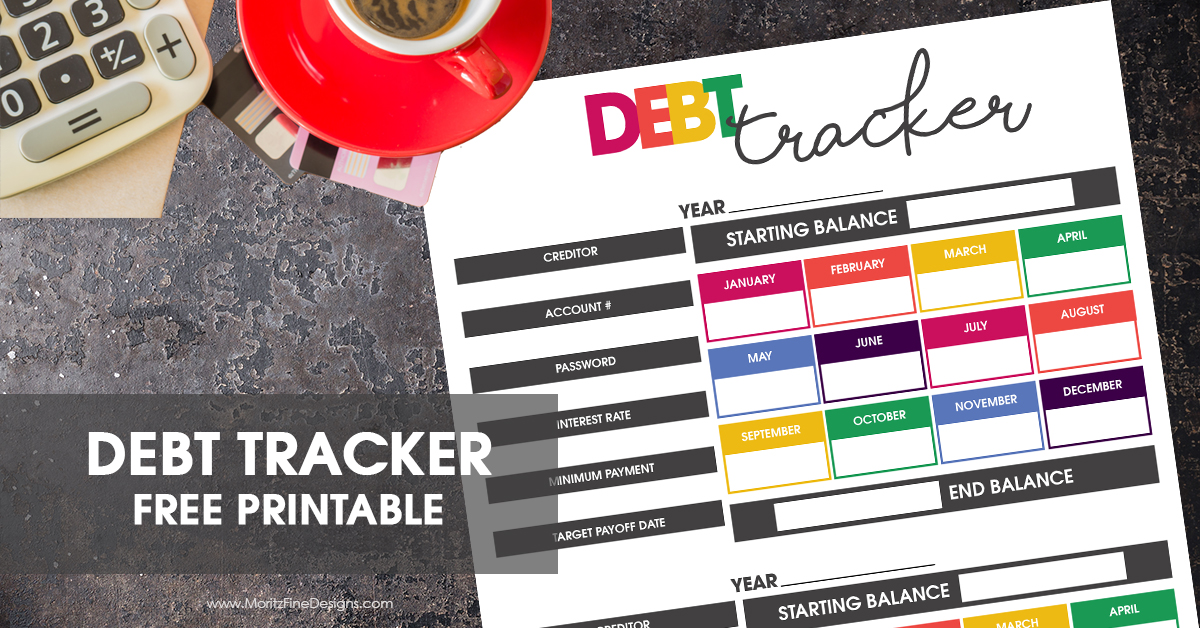 free printable debt tracker to reach your income goals