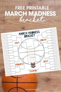 NCAA basketball tournament bracket | March Madness | free printable | free printable tourney bracket