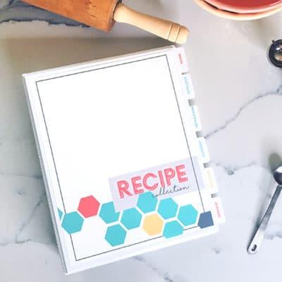 DIY Customizable Recipe Cookbook | Recipe Binder Printable | organize recipes | instant download | free printable