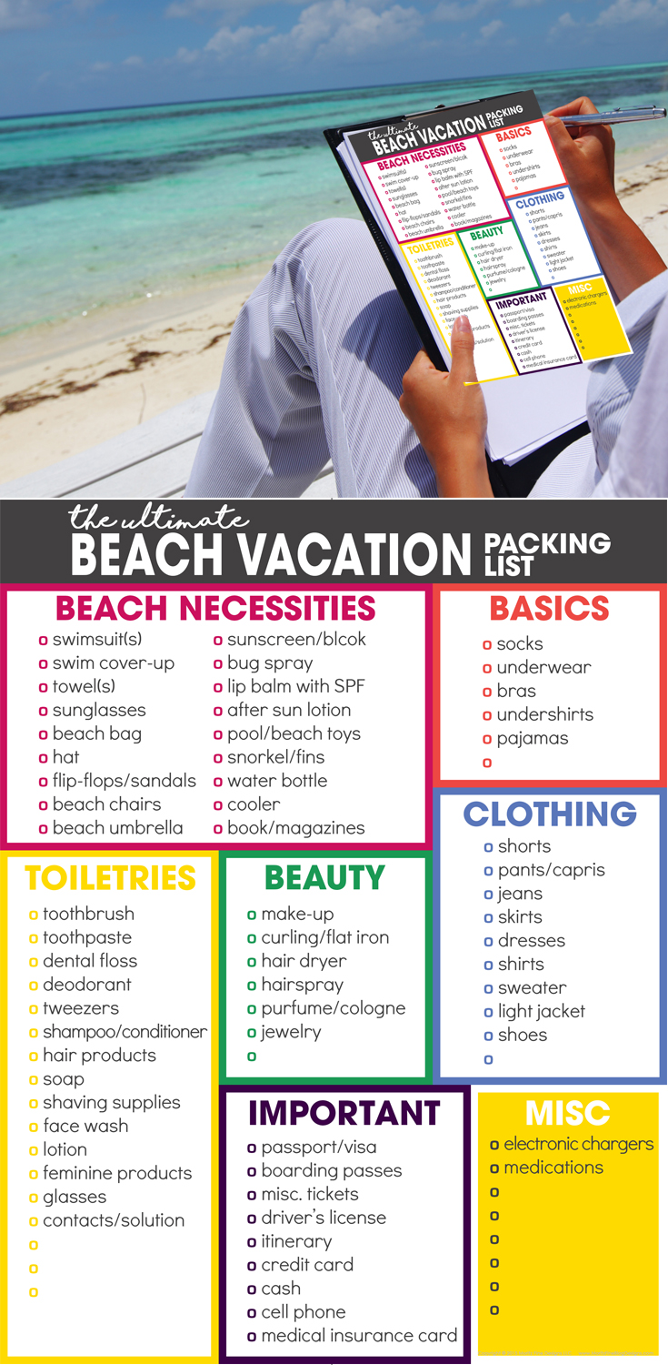 beach vacation packing list | spring break packing list | free printable | what to pack for vacation