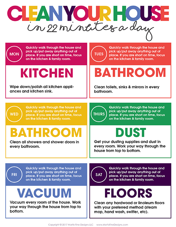 Clean Your House In 22 Minutes A Day Free Printable