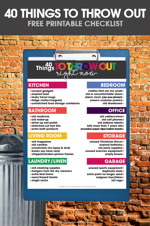 things to throw out | declutter your home | organize room by room | declutter now | free printable checklist