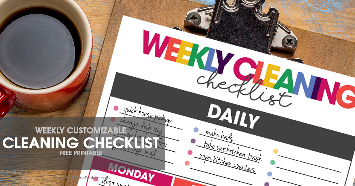 weekly cleaning checklist | free printable | customizable cleaning to-do list | cleaning organizer