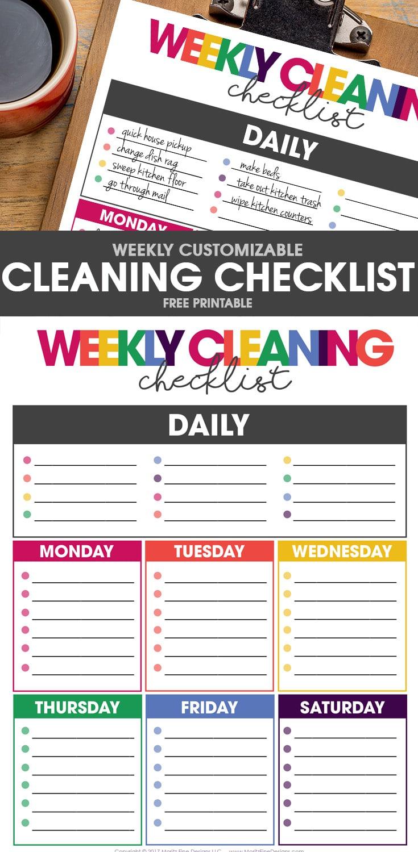 Weekly Calendar Organizer Printable : Free weekly cleaning checklist printable included