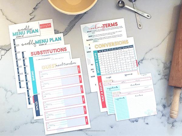 Recipe Binder | DIY Recipe Collection Binder Kit | Printable Recipe Kit | Organize your recipes | Clean Kitchen