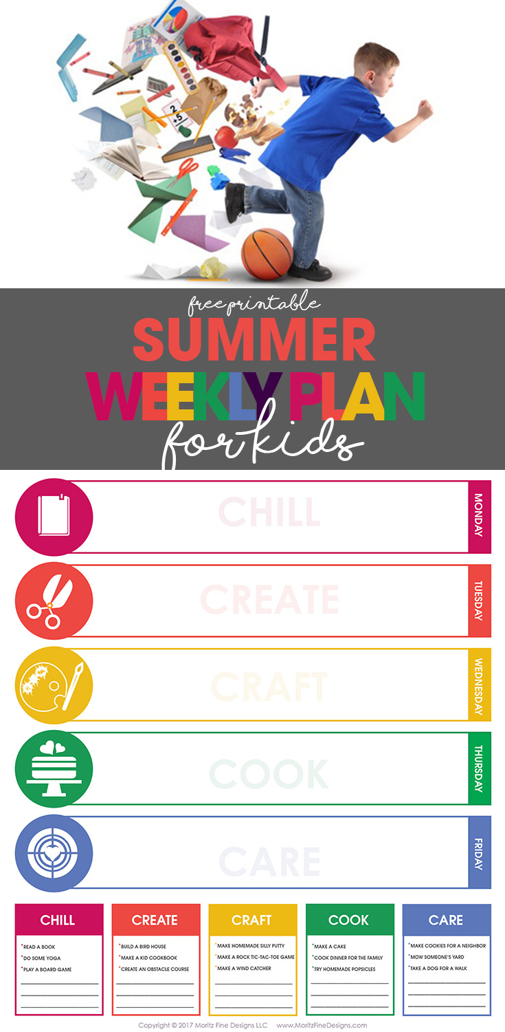 summer weekly plan | weekly schedule for kids | free printable | organize your life