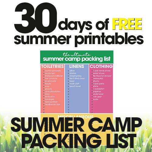 Summer Camp Packing List | Free Summer Printables Day #1