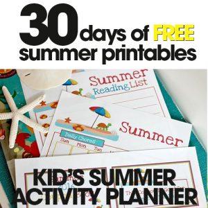 free summer printables | kid's summer activity planner | fun kid's summer activities | free printable