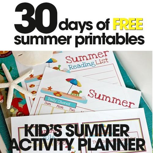 Kid's Summer Activity Planner | Free Summer Printable Day #12