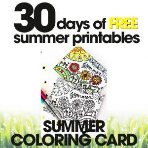 free summer printables | summer coloring card | diy coloring activities | free printable