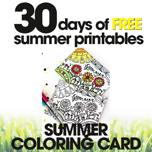 Summer Coloring Card | Free Summer Printable Day #13