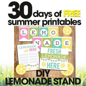 free summer printables | DIY lemonade stand | homemade lemonade stand for kids | free printable