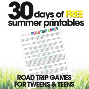 picture relating to Free Printable Road Trip Games called Highway Holiday Online games for Tweens Absolutely free Summer season Printable Working day #19