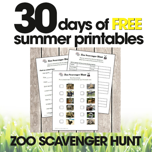 Zoo Scavenger Hunt | Free Summer Printable Day #22