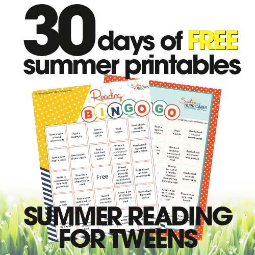 free summer printables | summer reading for tweens | reading bingo | free printable