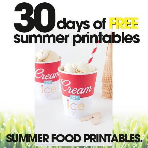 Summer Food Printables | Free Summer Printable Day #27