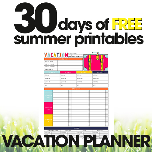 Vacation Planner Printable | Free Summer Printable Day #9