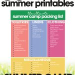 free summer printables   summer camp packing list   organize for summer camp   free printables