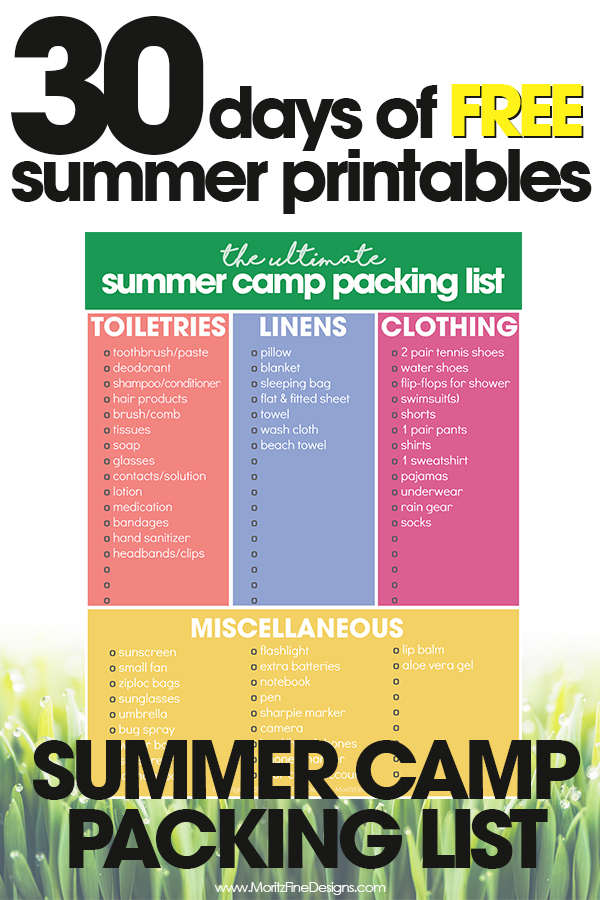 Summer Camp Packing List Free Printable Packing List For