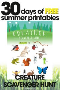 free summer printables | creature scavenger hunt | fun outdoor activities for kids | free printables