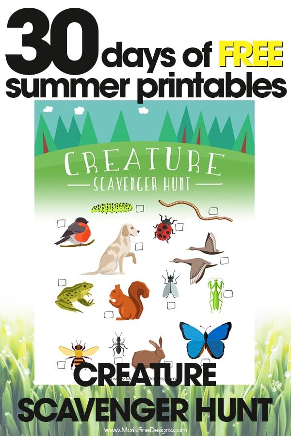 free summer printables | creature summer scavenger hunt | fun outdoor activities for kids | free printables