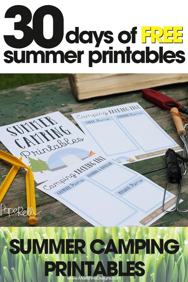 free summer printables | summer camping printables | easy camping planner | free printable