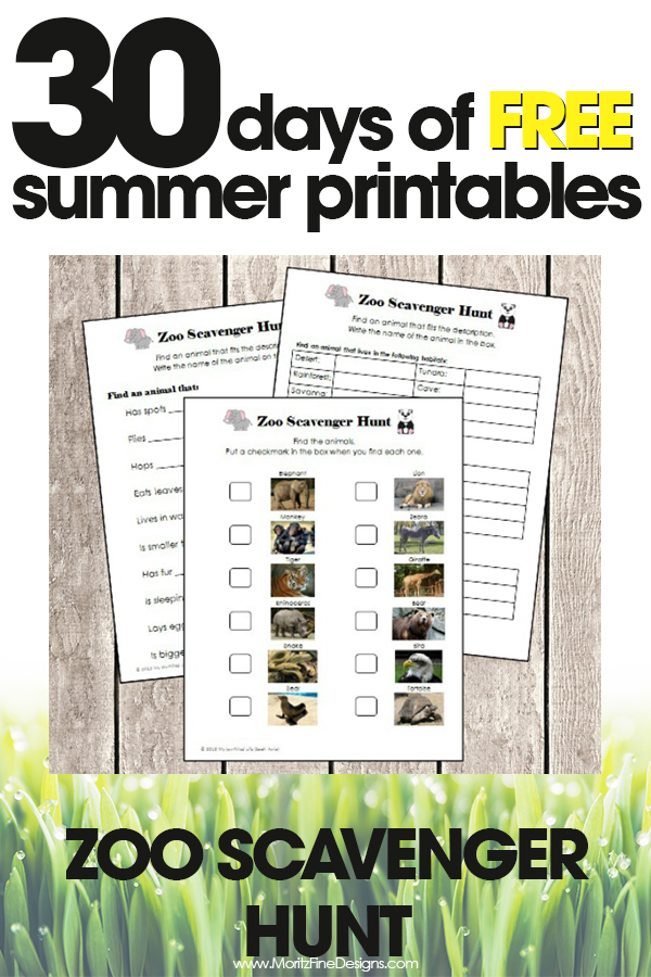 picture regarding Zoo Scavenger Hunt Printable named Zoo Scavenger Hunt No cost Summertime Printable Working day #22 Moritz