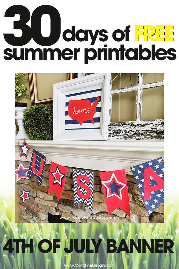 free summer printables | 4th of July banner | 4th of July Holiday decor printables | free printable""