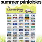 free summer printables | summer travel game | License Plate game for road trips | free printables