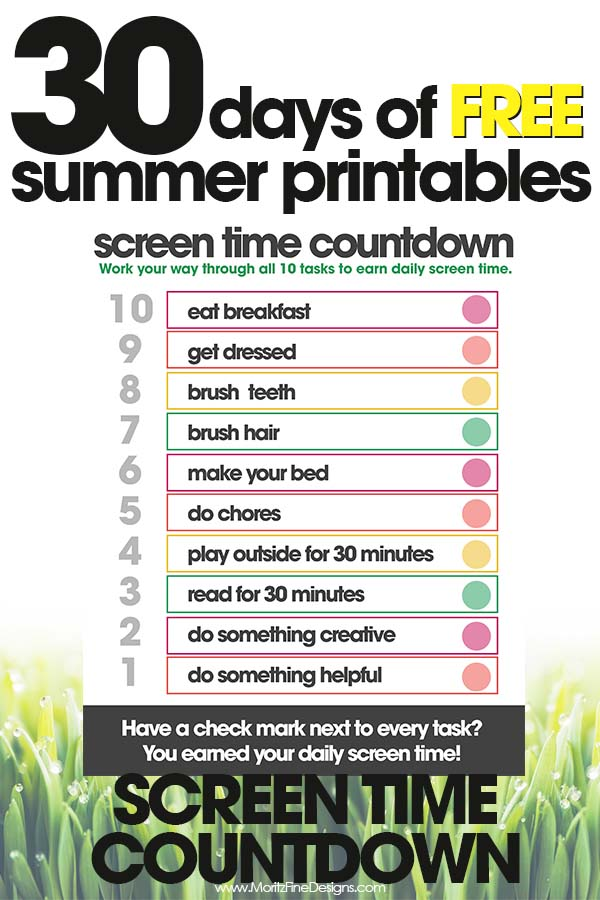 Screen Time Countdown Free Printable For Kids
