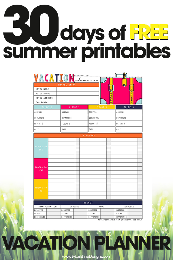Vacation Planner | Free Printable Guide for Vacation Planning