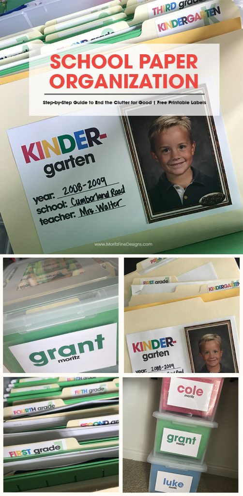 school paper organization   free printable organizing labels   how to organize your kid's papers   organizing school paper ideas