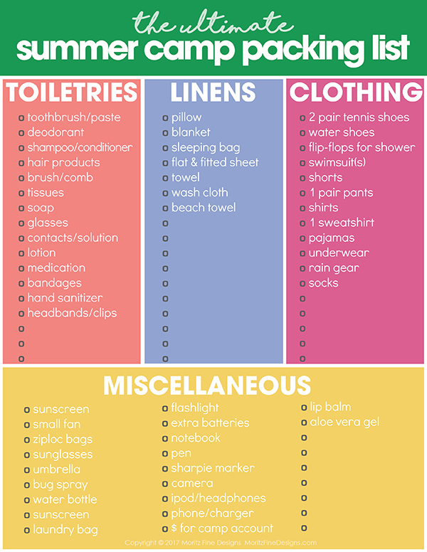 Summer Camp Packing List  Free Printable Packing List For Kids