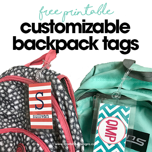 Free Customizable Backpack Tags for Kids